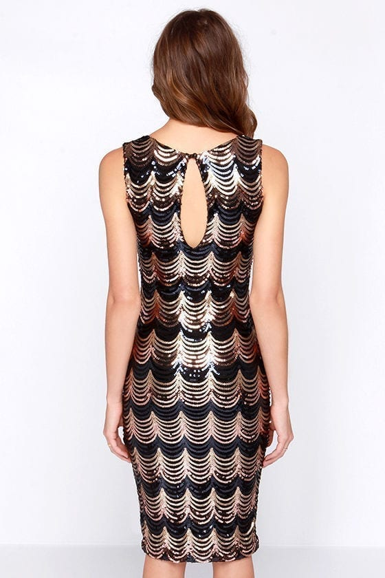Crescent Embroidery Paillette Medium-long One-piece Dress