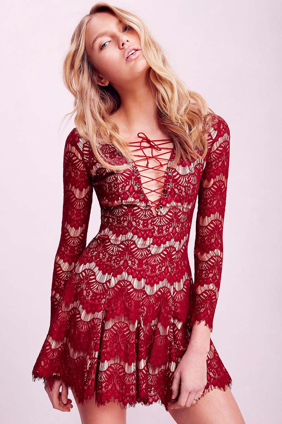 Long Sleeve Eyelash Lace Dress
