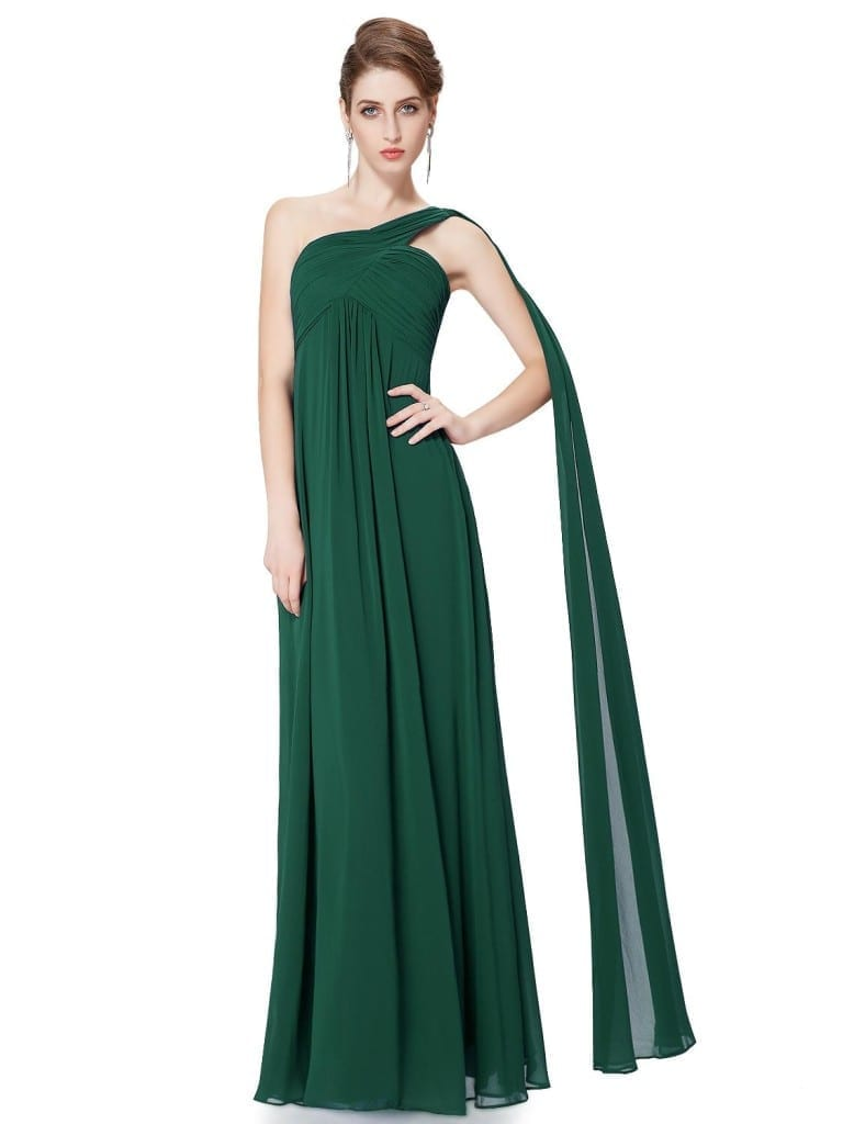A-line One Shoulder Green Ruffles Padded Long Bridesmaid Dress