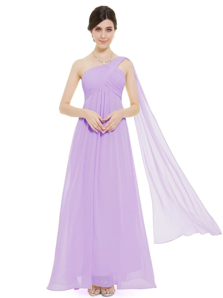 A-line One Shoulder Light Purple Ruffles Padded Long Bridesmaid Dress