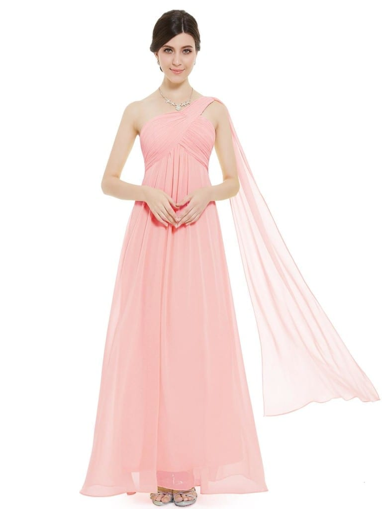 A-line One Shoulder Pink Ruffles Padded Long Bridesmaid Dress