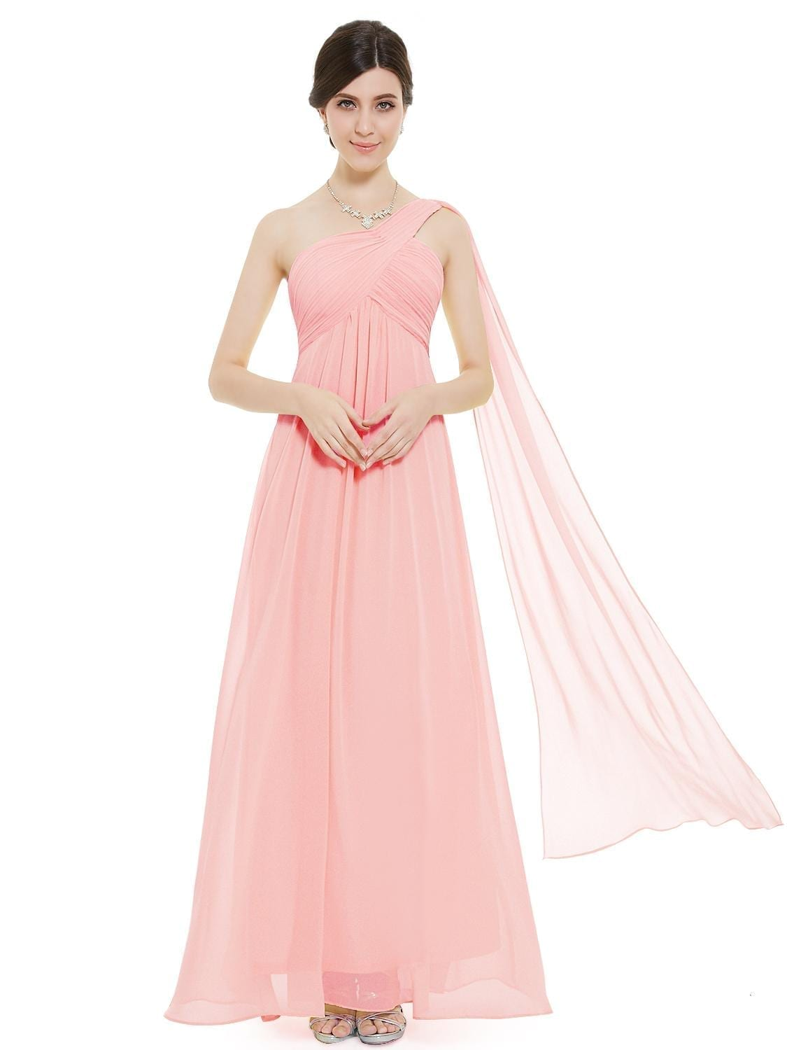 A line one shoulder pink ruffles padded long bridesmaid for Pink ruffle wedding dress