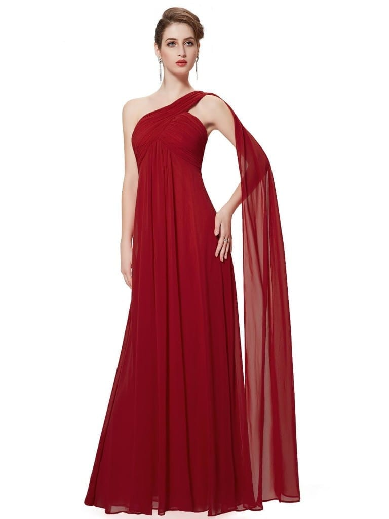 A-line One Shoulder Red Ruffles Padded Long Bridesmaid Dress