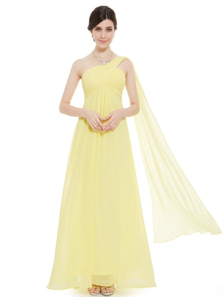 A-line One Shoulder Yellow Ruffles Long Bridesmaid Dress