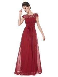 Burgundy Neckline Open Back Ruched Bust Evening Dress