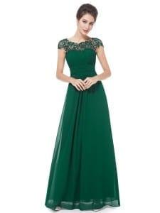 Green Neckline Open Back Ruched Bust Evening Dress