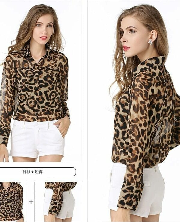 Leopard Single-breasted Long-sleeved Blouse