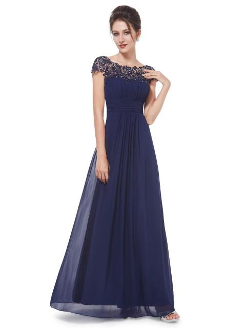 Navy Blue Neckline Open Back Ruched Bust Evening Dress