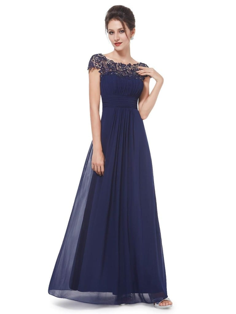 Navy Blue Neckline Open Back Ruched Bust Evening Dress