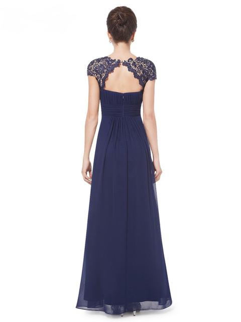 Neckline Open Back Ruched Bust Bridesmaid Dress Back1