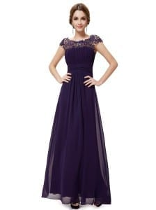Purple Lacey Neckline Open Back Ruched Bust Evening Dress