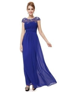 Royal Blue Neckline Open Back Ruched Bust Evening Dress