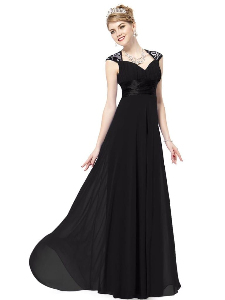 V-neck Black Sequins Chiffon Ruffles Empire Line Evening Dress