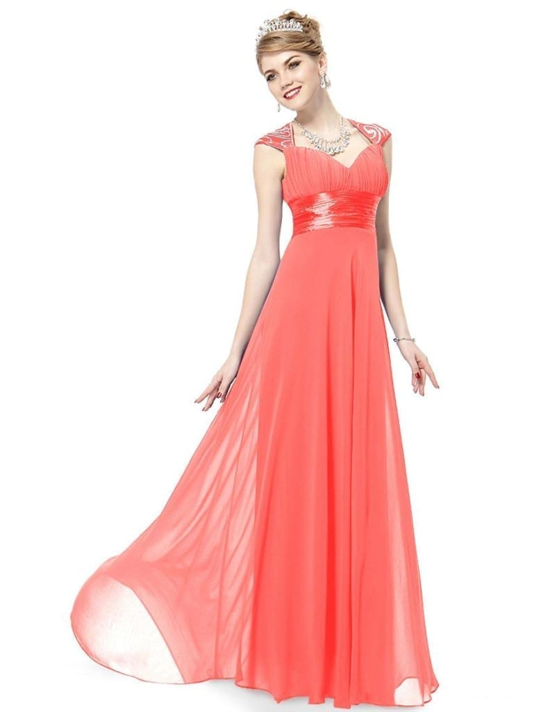V-neck Coral Sequins Chiffon Ruffles Empire Line Evening Dress