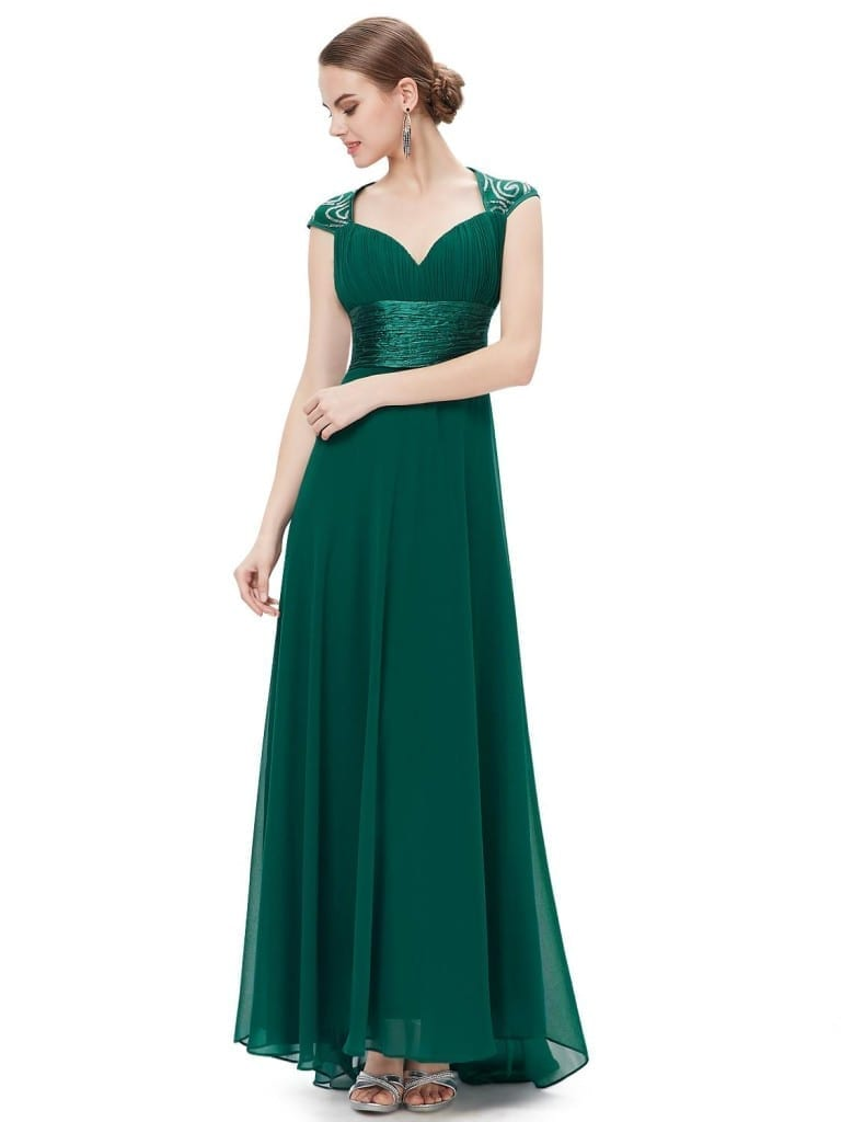 V-neck Green Sequins Chiffon Ruffles Empire Line Evening Dress