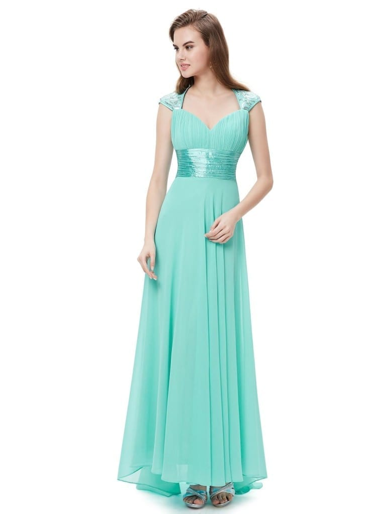 V-neck Light Blue Sequins Chiffon Ruffles Empire Line Evening Dress