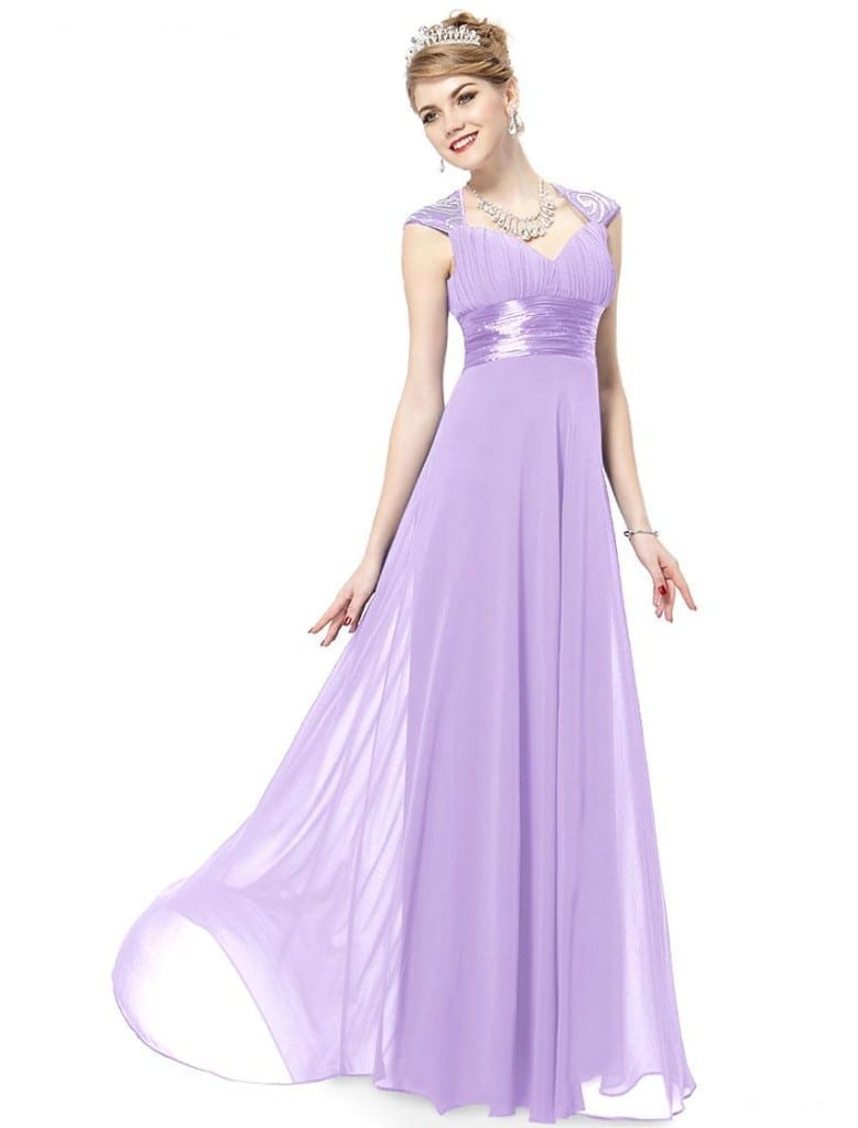 V-neck Light Purple Sequins Chiffon Ruffles Empire Line Evening Dress