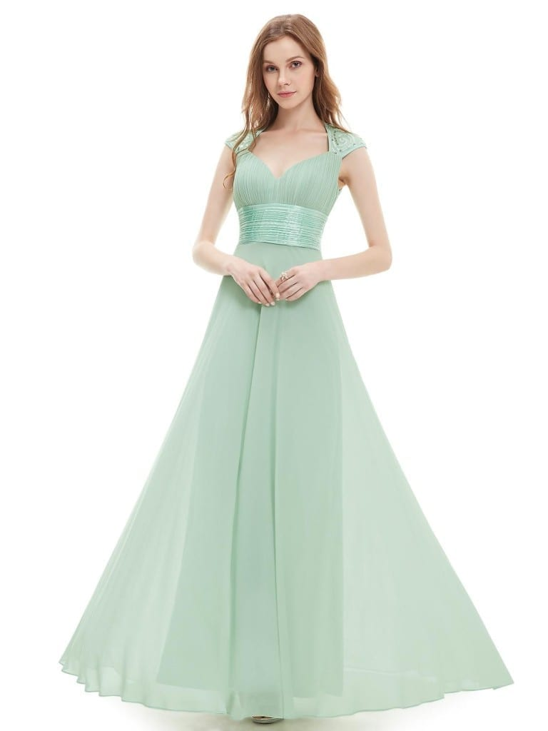 V-neck Mint Green Sequins Chiffon Ruffles Empire Line Evening Dress