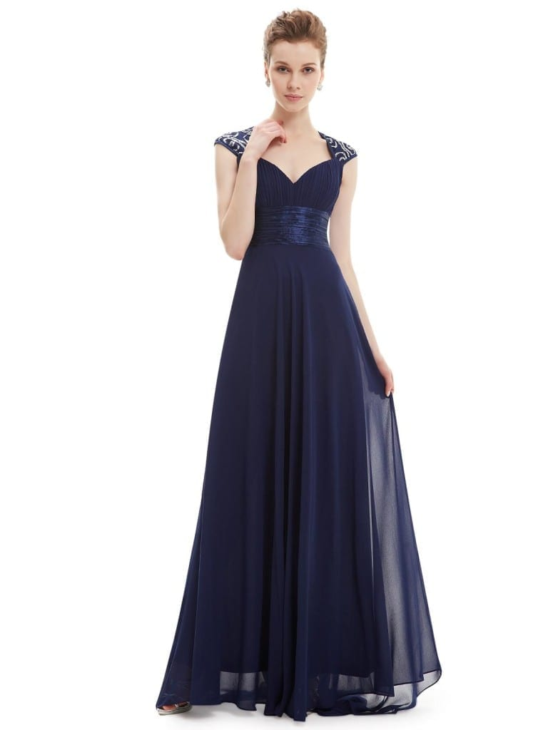 V-neck Navy Blue Sequins Chiffon Ruffles Empire Line Evening Dress