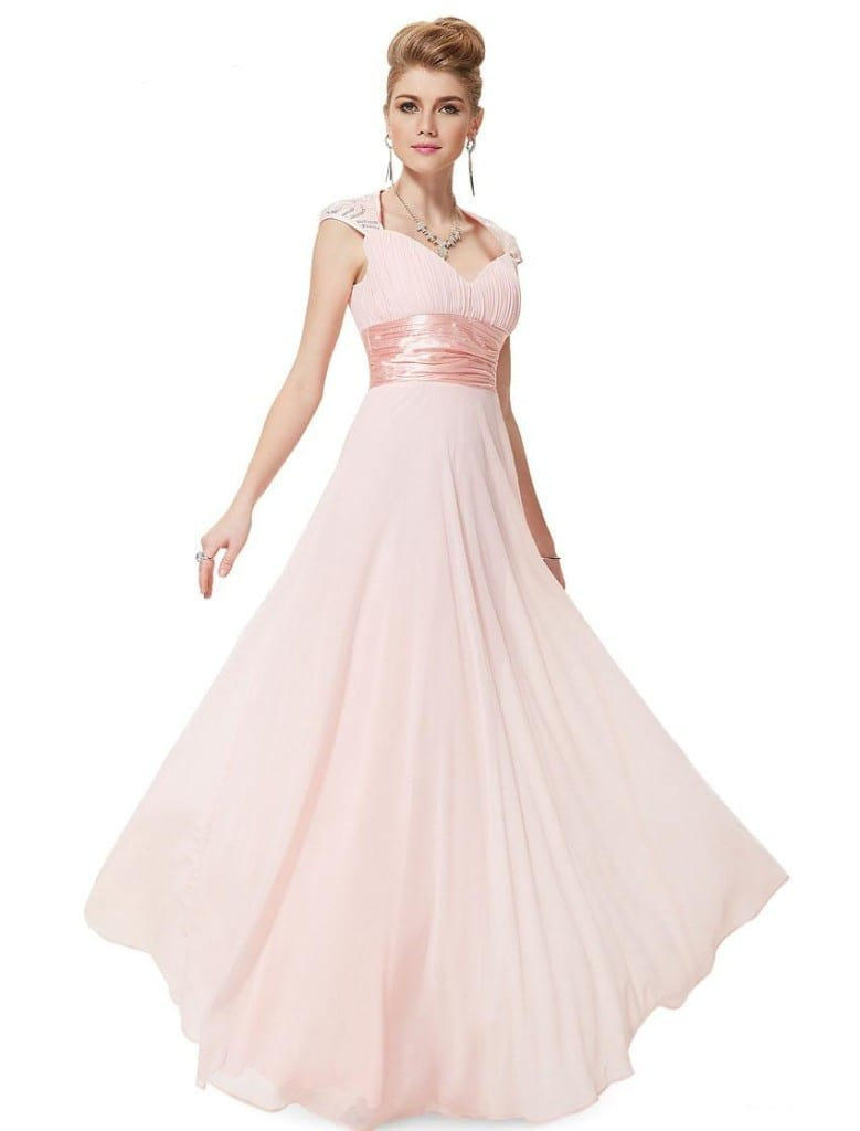 V-neck Pink Sequins Chiffon Ruffles Empire Line Evening Dress