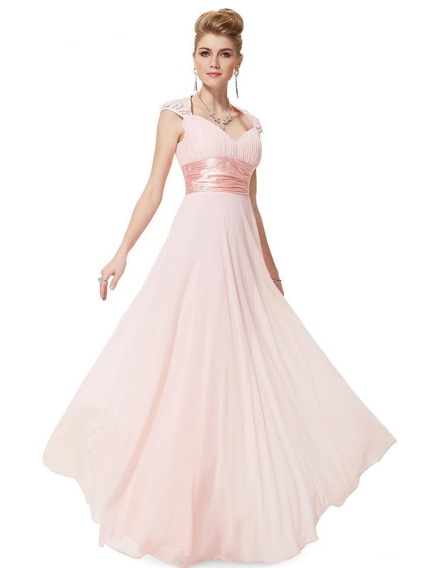 fbf5abadba28 V-neck Sequins Chiffon Ruffles Empire Line Evening Bridesmaid Dress ...