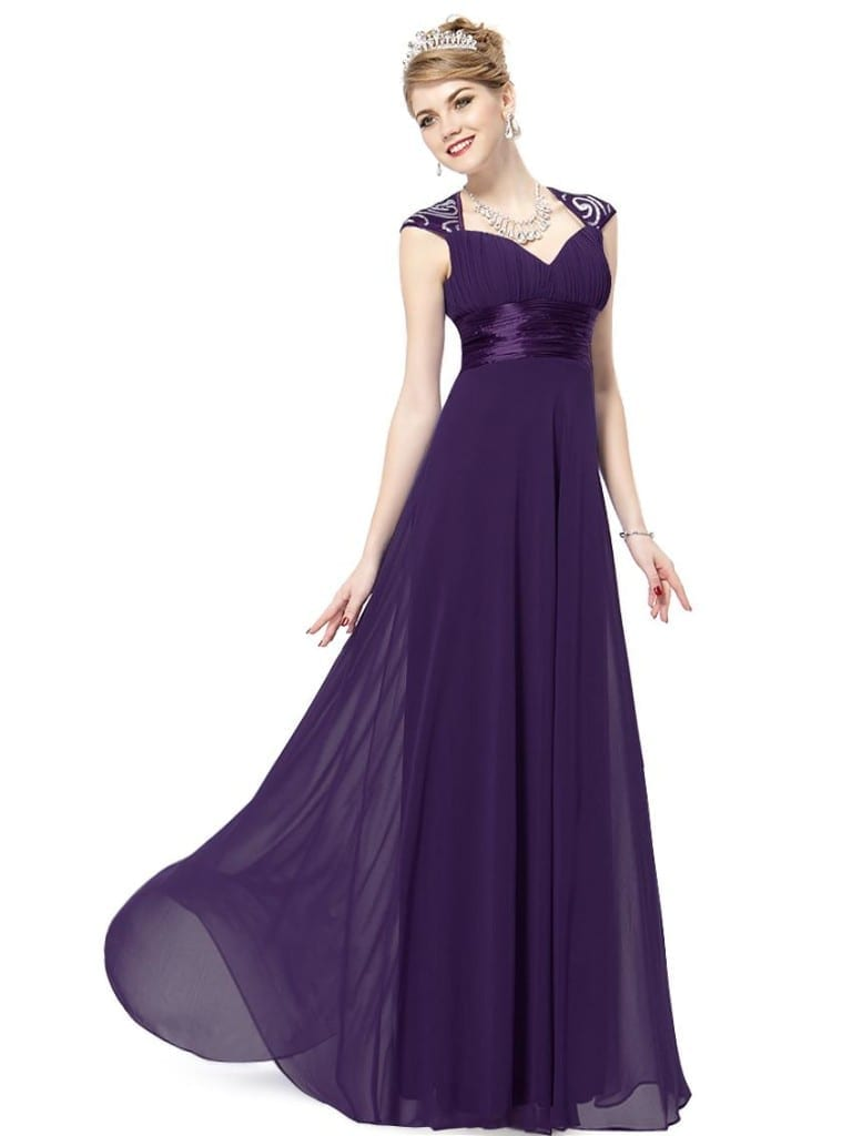 V-neck Purple Sequins Chiffon Ruffles Empire Line Evening Dress