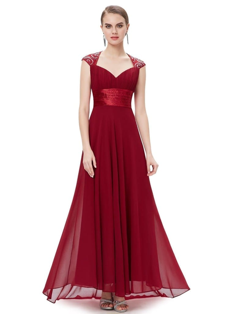 V-neck Red Sequins Chiffon Ruffles Empire Line Evening Dress