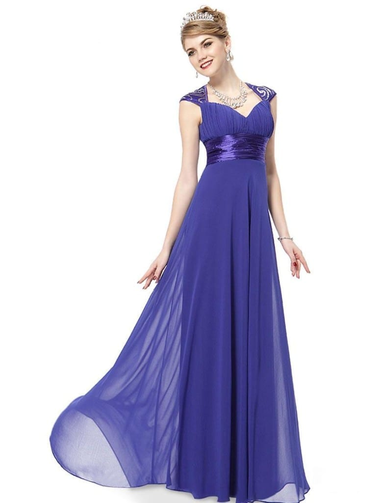 V-neck Sapphire Blue Sequins Chiffon Ruffles Empire Line Evening Dress
