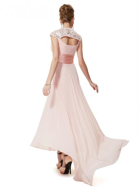 V-neck Sequins Chiffon Ruffles Empire Line Evening Dress Pink