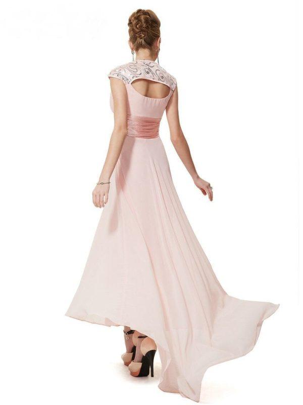 V-neck Sequins Chiffon Ruffles Empire Line Evening Bridesmaid Dress