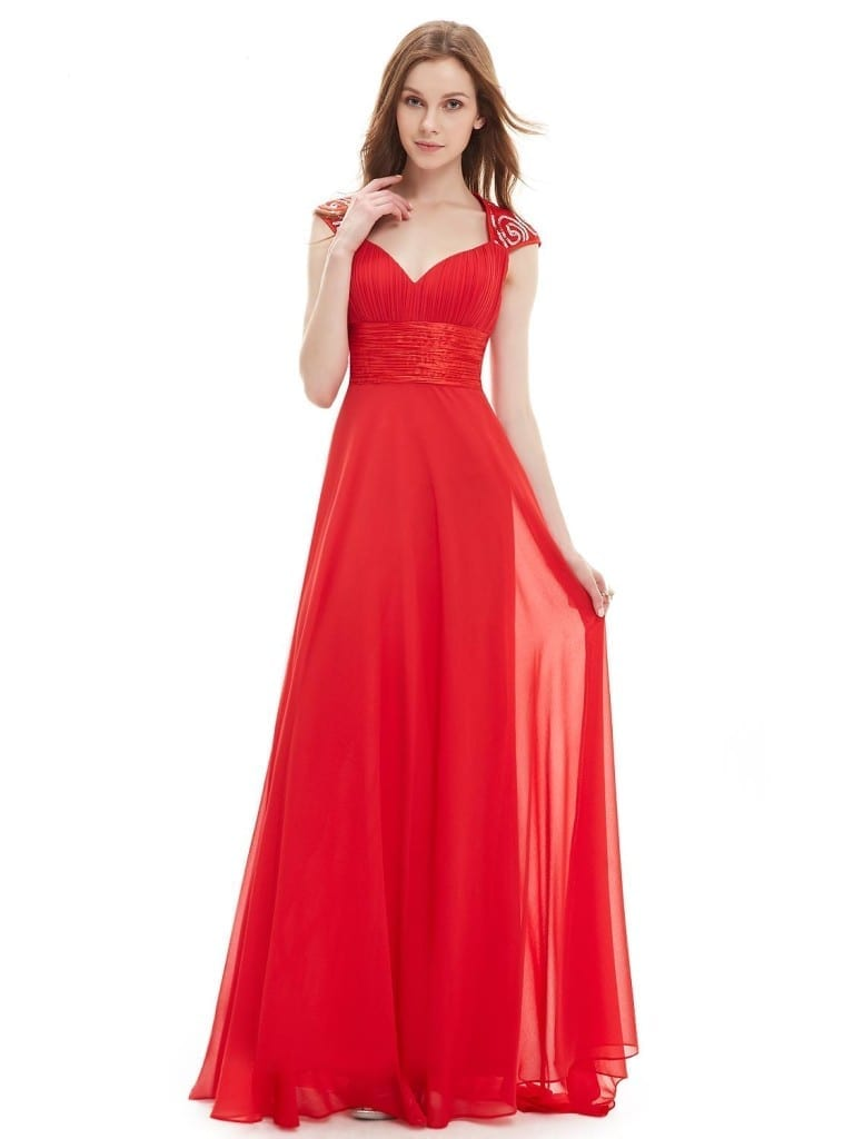 V-neck Vermilion Sequins Chiffon Ruffles Empire Line Evening Dress