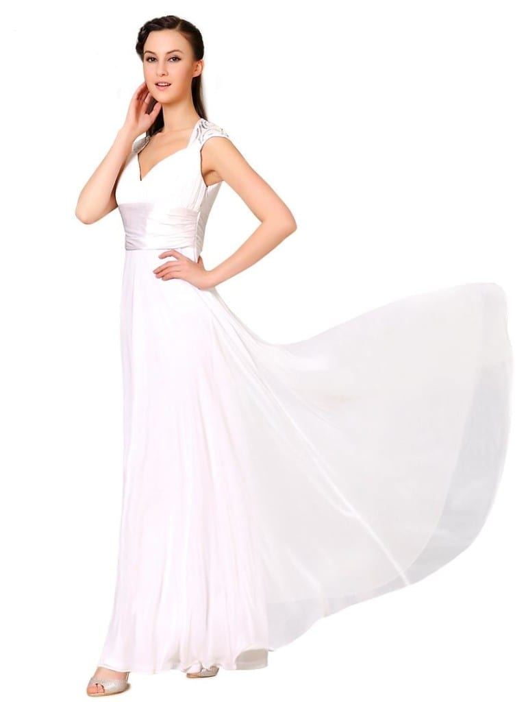 V-neck White Sequins Chiffon Ruffles Empire Line Evening Dress