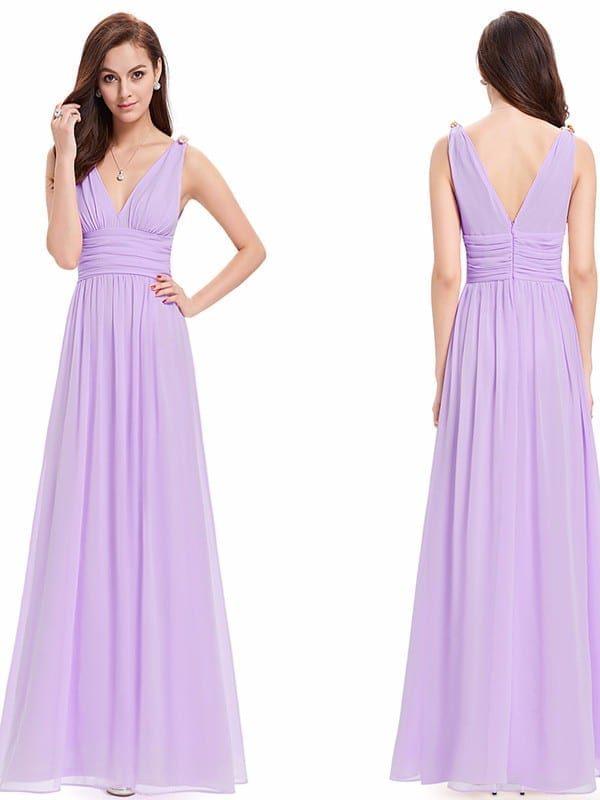 Double V Elegant Long Evening Dress