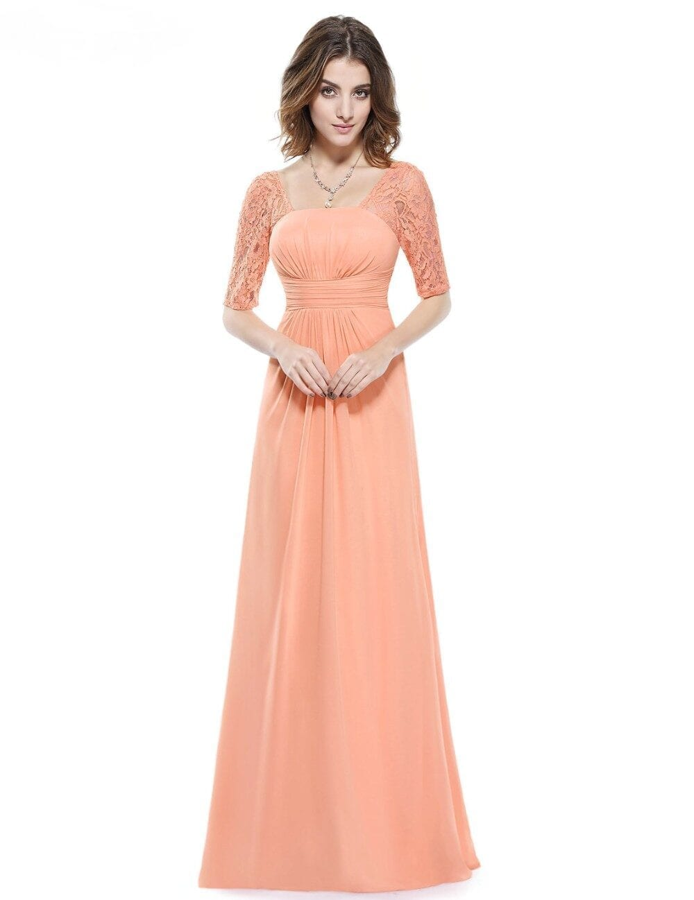 Beauty Lace Square Neckline Long Prom Evening Dress