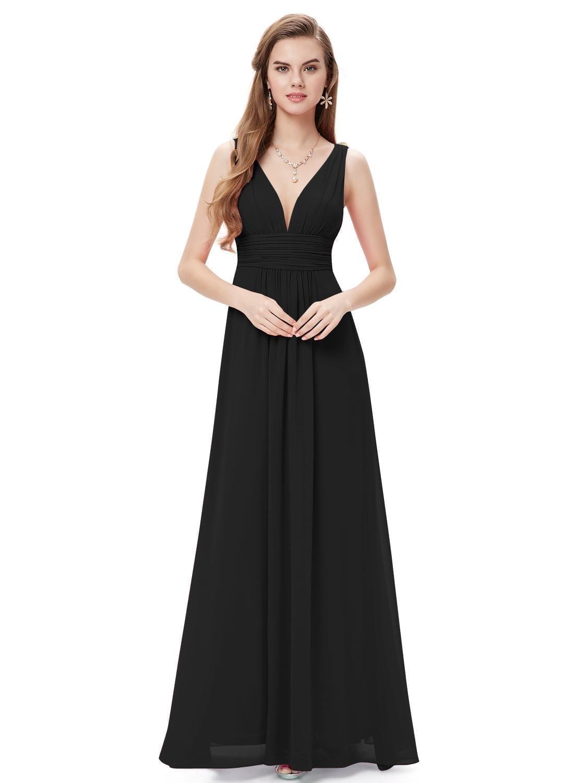 Black Double V Elegant Evening Dress Uniqistic