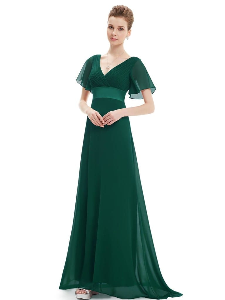 Glamorous Green Double V-Neck Ruffles Padded Evening Dress