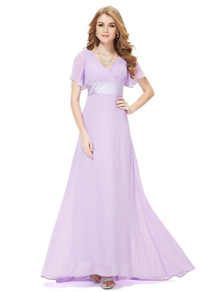 Glamorous Light Purple Double V-Neck Ruffles Padded Evening Dress