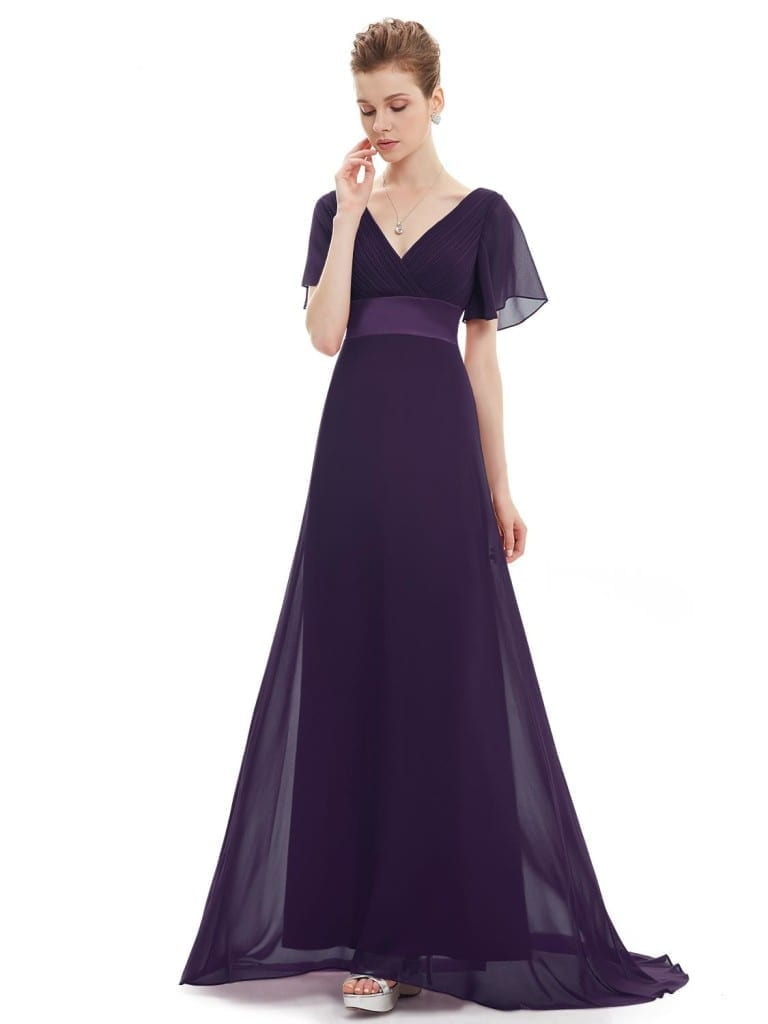 Glamorous Pink Purple V-Neck Ruffles Padded Evening Dress