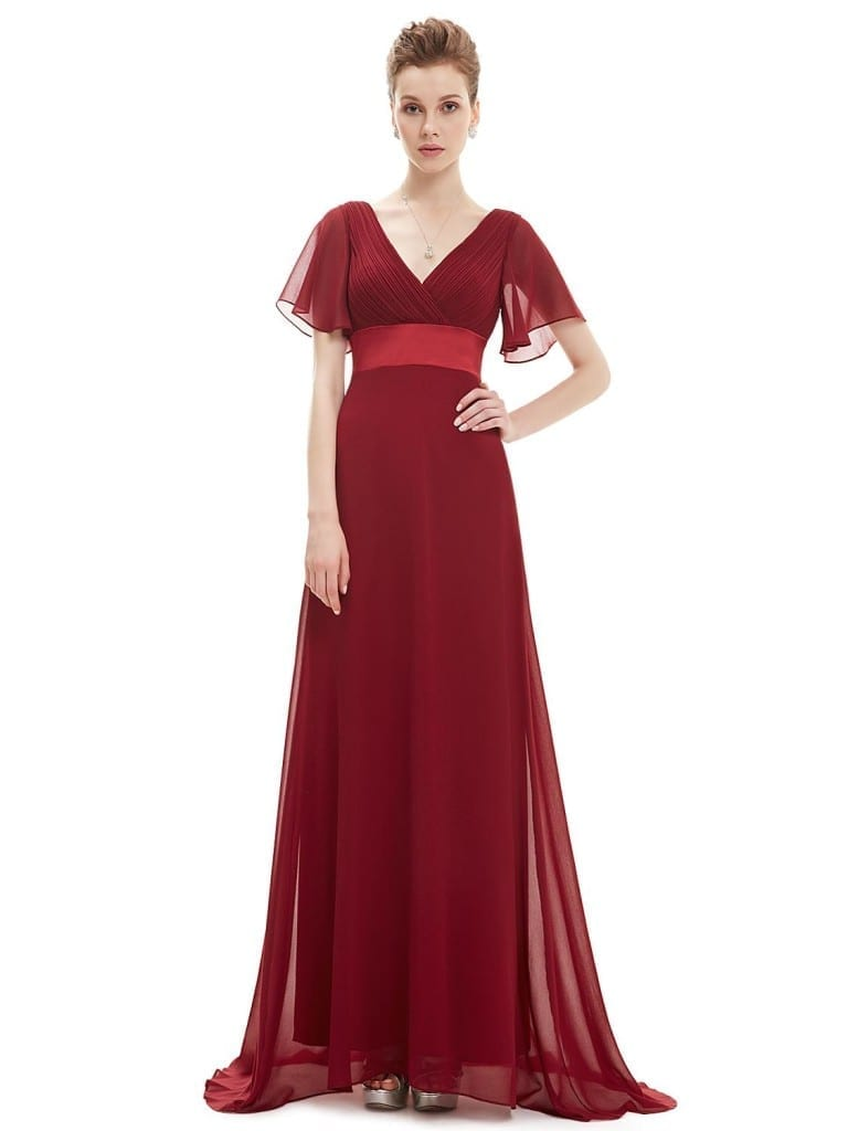 Glamorous Red Double V-Neck Ruffles Padded Evening Dress