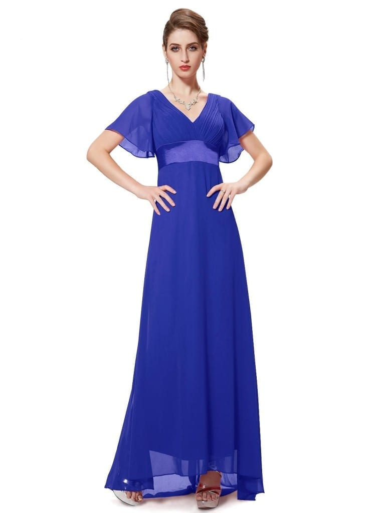 Glamorous Sapphire Blue Double V-Neck Ruffles Padded Evening Dress