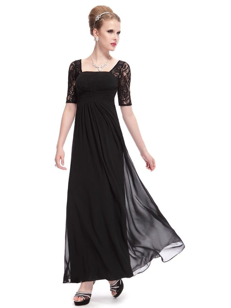 Sexy Fashion Black Lace Square Neckline Long Prom Evening Dress