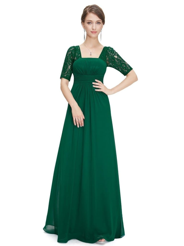 Sexy Fashion Green Lace Square Neckline Long Prom Evening Dress