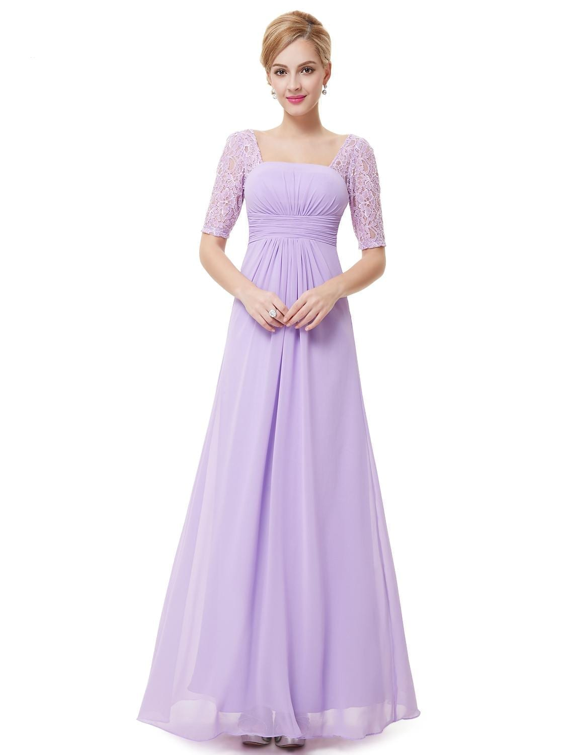 Sexy Fashion Lilac Purple Lace Square Neckline Long Prom ...