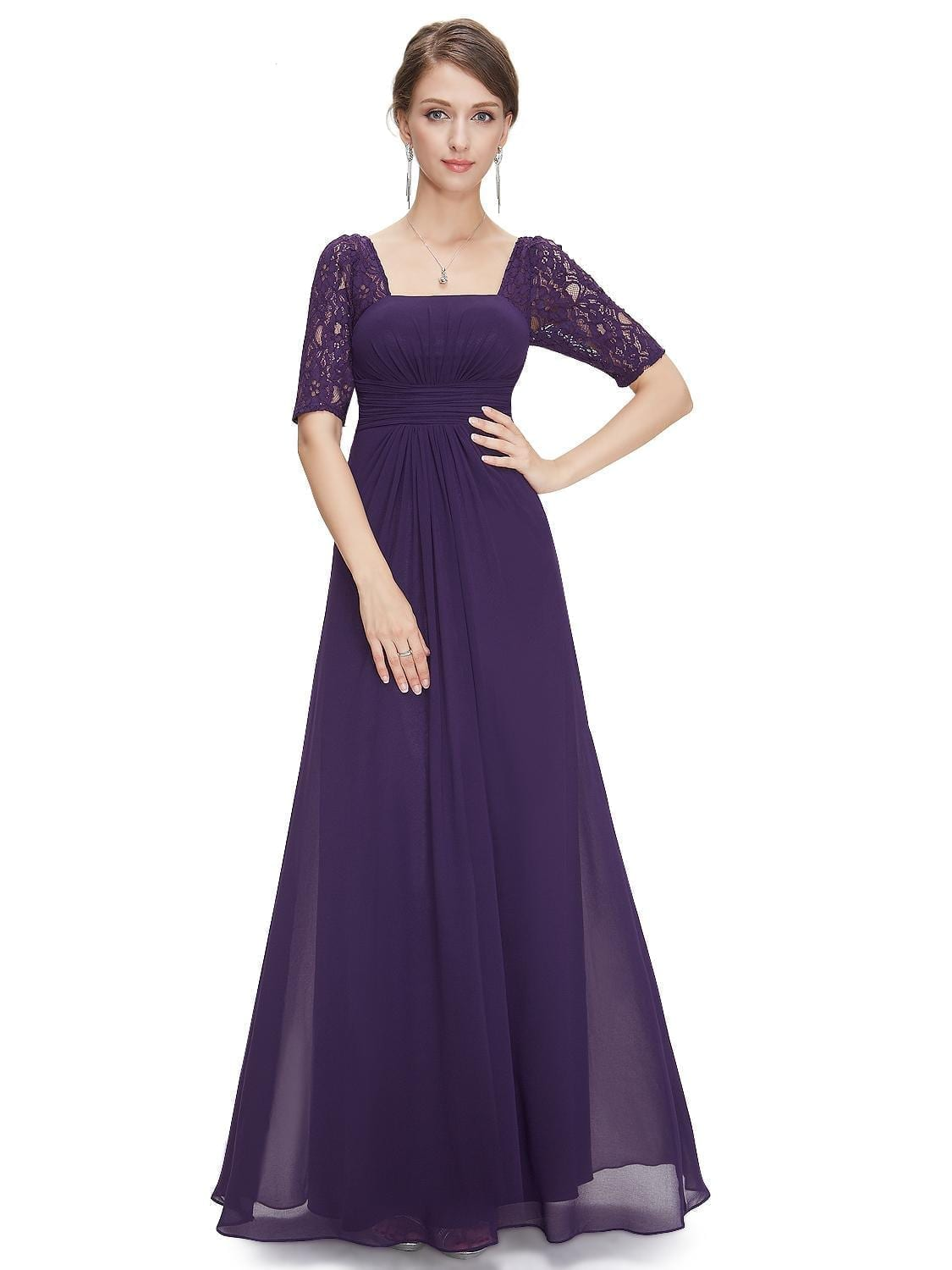 Sexy-fashion-purple-lace-square-neckline-long-prom-evening-dress