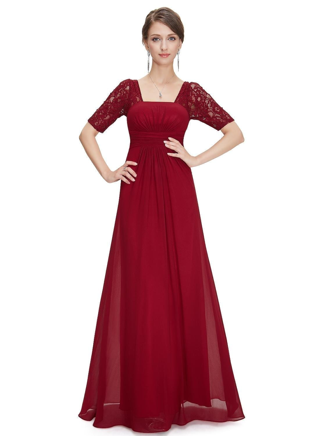 Sexy-fashion-red-lace-square-neckline-long-prom-evening-dress