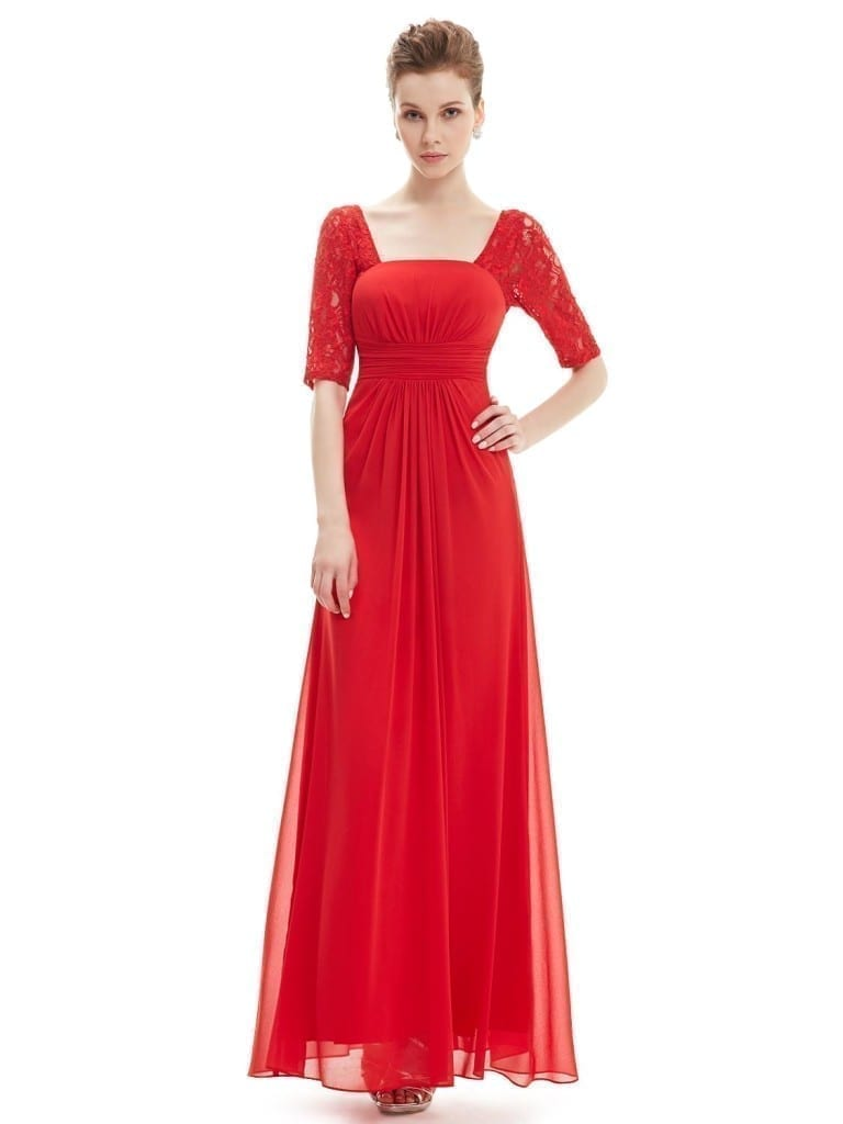 Beauty Lace Square Neckline Long Prom Evening Dress 1