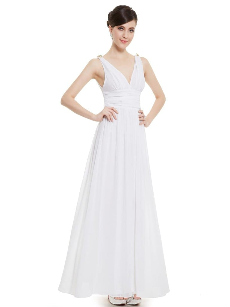White Double V Elegant Evening Dress