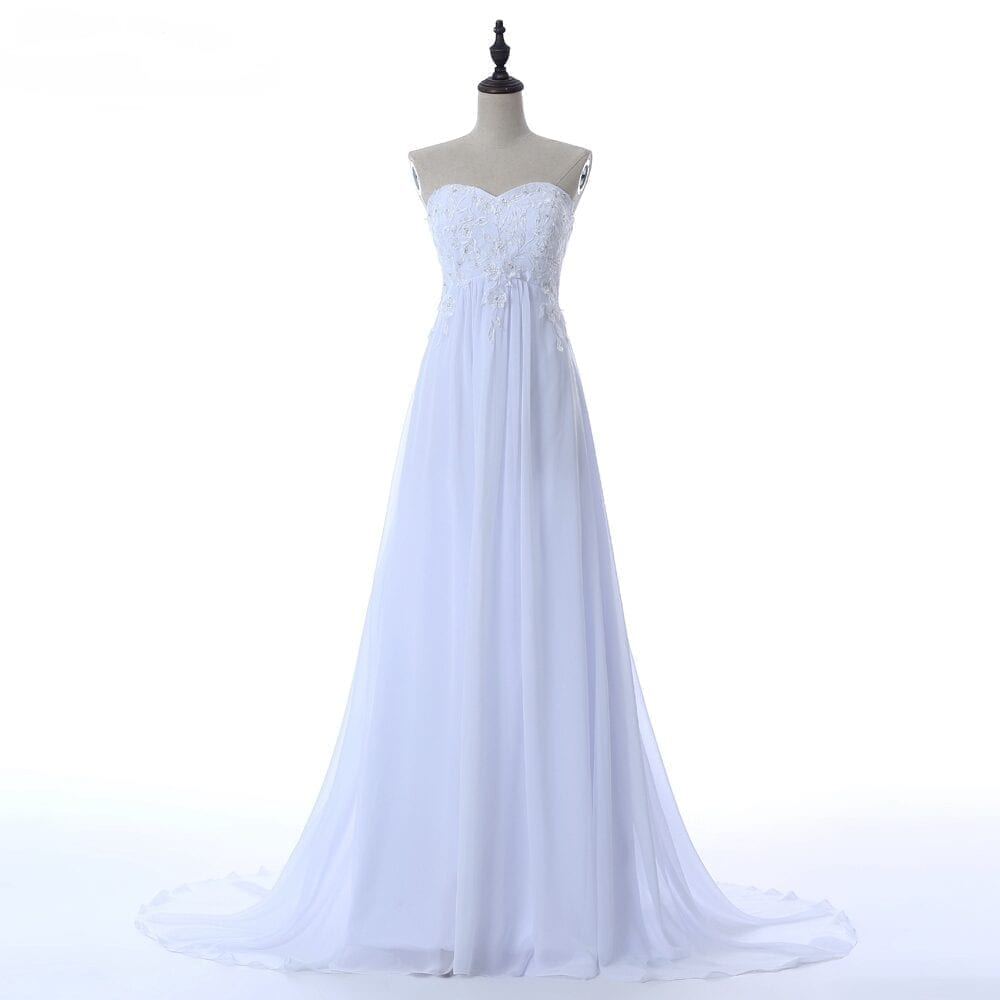 Pleat chiffon beach wedding dress for Beach chiffon wedding dress