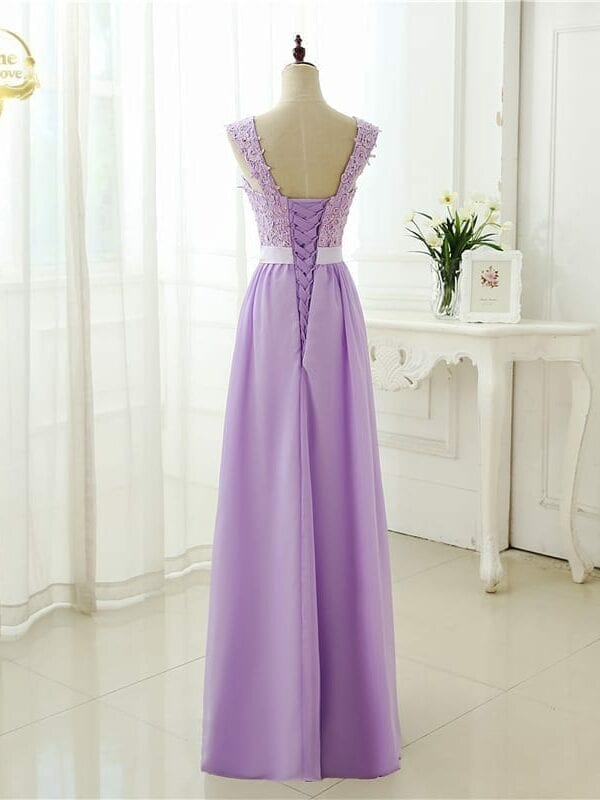 Cap Sleeve Applique Beading Long Evening Dress