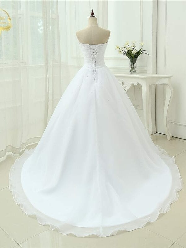 A-line Sweetheart Organza Vintage Wedding Dress